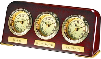 Three Time Zone Wood Desk Clock